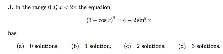 MAT2008 QJ - number of solns to trig equation