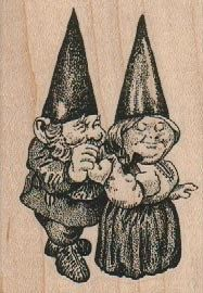 Rubber stamp Married couple  gnome  unMounted  by pinkflamingo61, $5.40