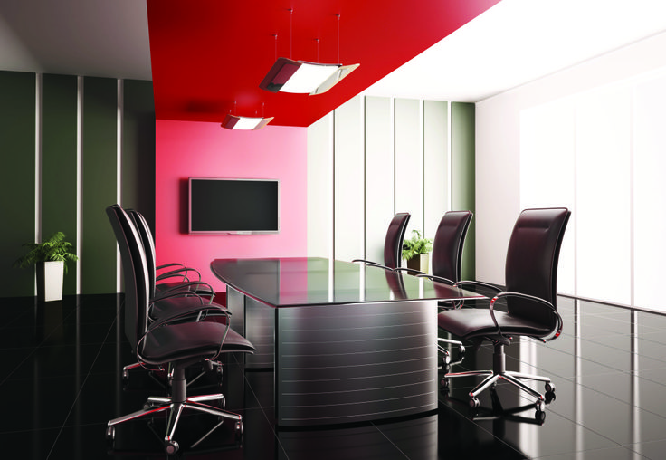 red, rolling office chairs, table, green, black, sleek design ...