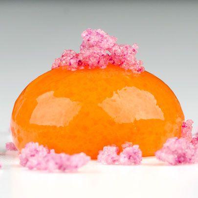 Carrot, Orange & Mango Spheres with Rose Crystals - get recipe at http://www.molecularrecipes.com/spherification/carrot-orange-mango-spheres-rose-crystals/