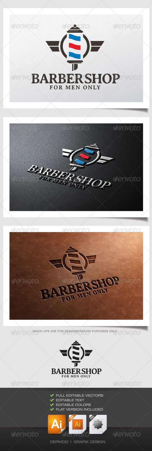 Barber Shop Logo  #GraphicRiver         Logo of the spirals barber sign. Can be used for many kind of project. Full vectors, this logo can be easily resize and colors can be changed to fit your colors project. Flat version for print also included. The font used is in a download file
