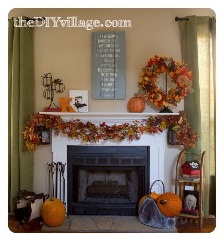 Fall Fireplace Mantel Decorating Ideas: Metal Buckets, Fireplaces And Colored Leaves