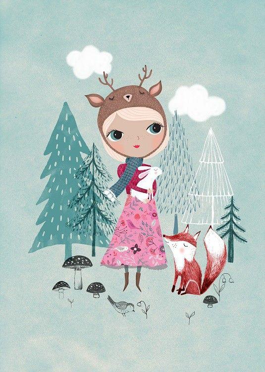 <p>Een prachtige sprookjesachtige illustraties van Rebecca Jones. Een meisje met een hertenmuts met een lief wit konijn en vos die niet van haar zijde wijken. Een prachtige poster voor een baby- of kinderkamer en mooi in combinatie met Bear Girl.<br />De poster heeft een A3 formaat, off set gedrukt met matte inkt.</p>