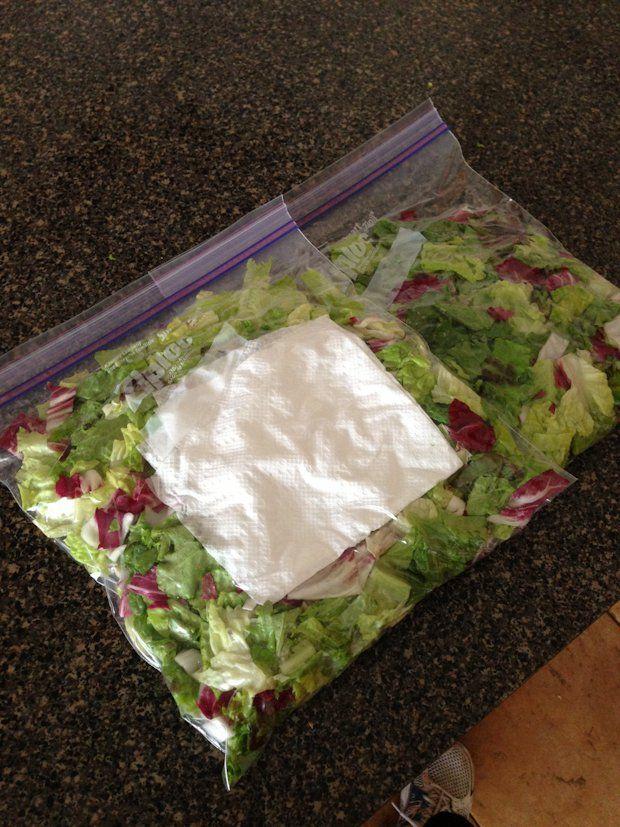 Lechuga con una bolsa de papel adentro para absorber la humedad