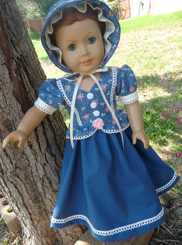 """RESERVED LISTING 18"""" Doll Clothes Historical Dress and Bonnet Fits American Girl Cecile, Marie Grace, Addy"""