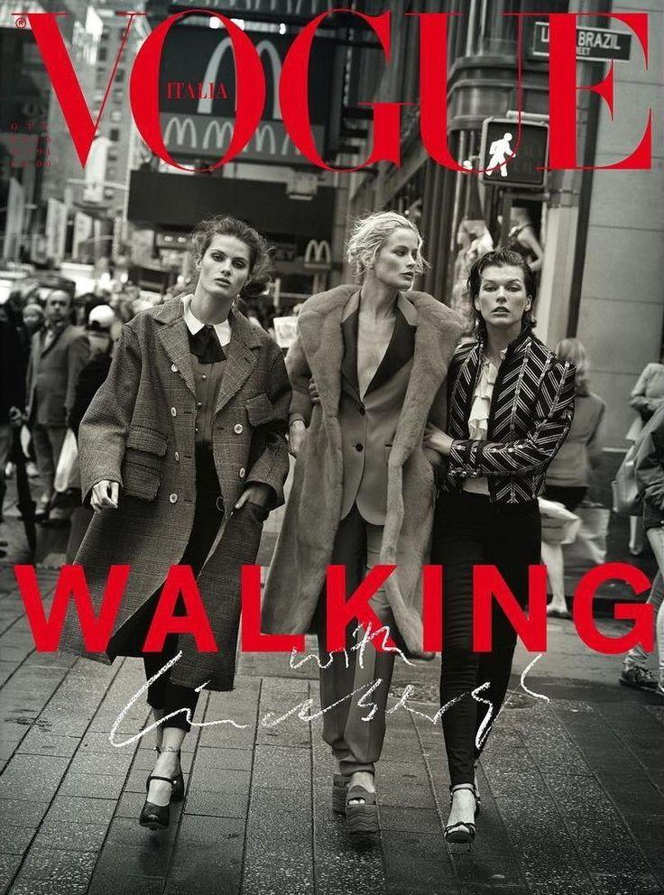 Vogue Italia October 2016 Cover, Carolyn Murphy, Isabeli Fontana, Milla Jovovich by Peter Lindbergh and Julia von Boehm.