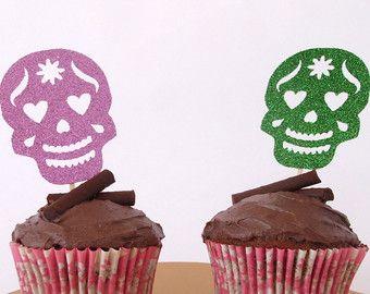 Toppers di Cupcake 6 del cranio di zucchero Glitter x, giorno del morto Cake Toppers, Dia de los Muertos torte, torta di Halloween, Halloween Party Decor