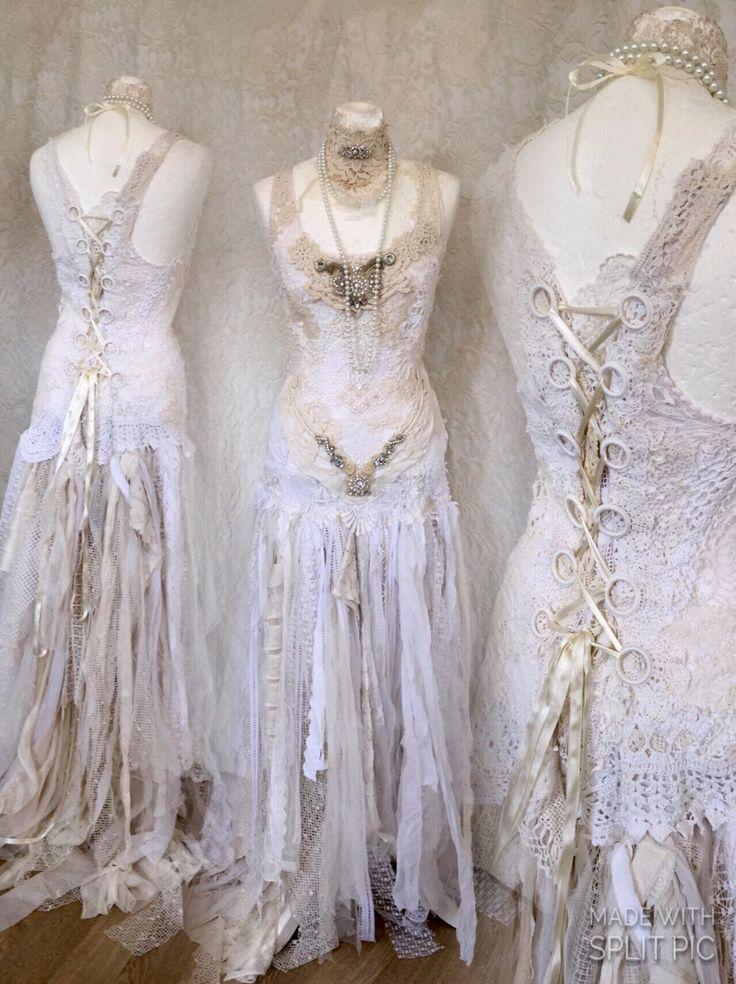 Boho Wedding dress tattered,alternative wedding dress,beach wedding dress,wedding dress ethereal , bridal gown tattered,wedding dress rawrag by RAWRAGSbyPK on Etsy https://www.etsy.com/uk/listing/527727670/boho-wedding-dress-tatteredalternative