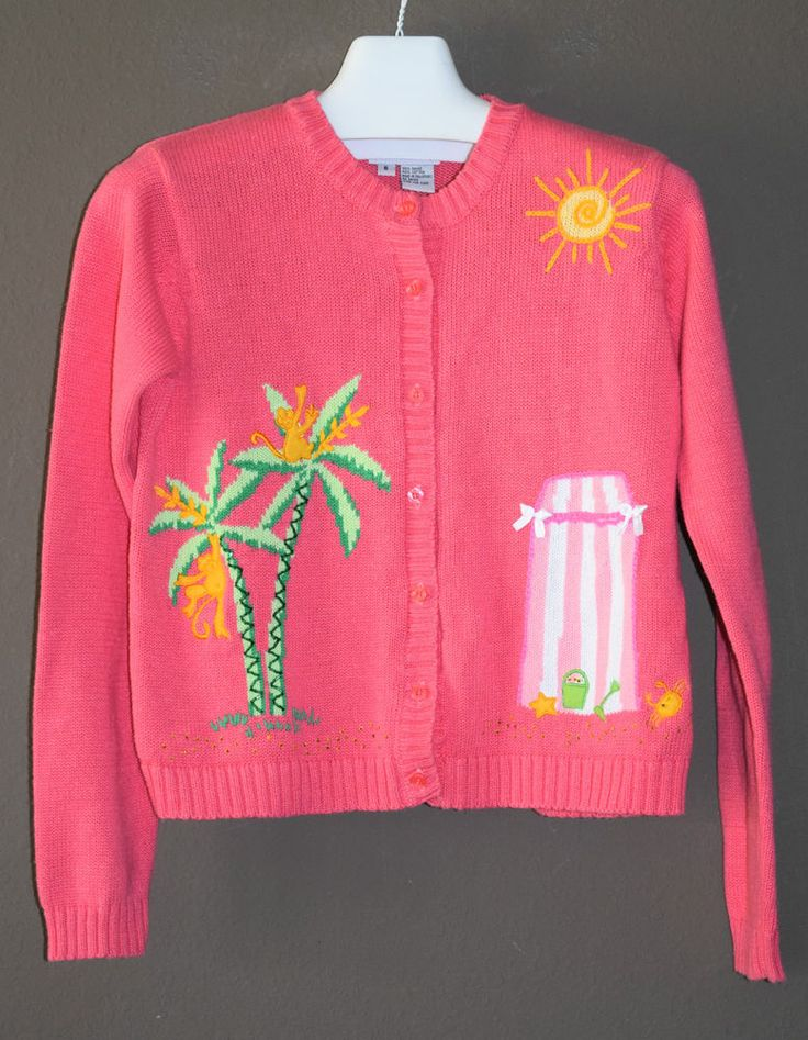 Lilly Pulitzer Pink Cardigan Sweater Palm Tree Beach Embroidery S Small Monkey #LillyPulitzer #Cardigan