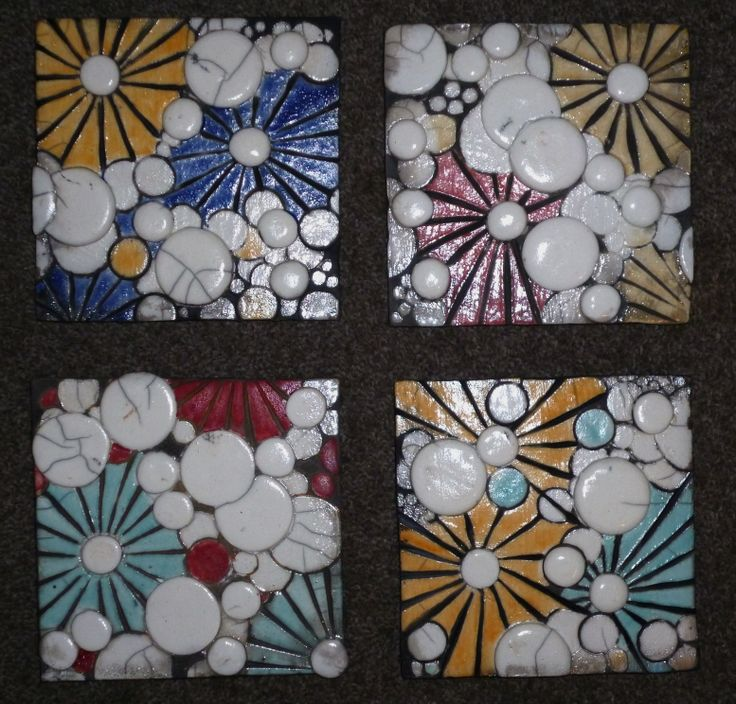 Art deco inspired tiles, raku fired.