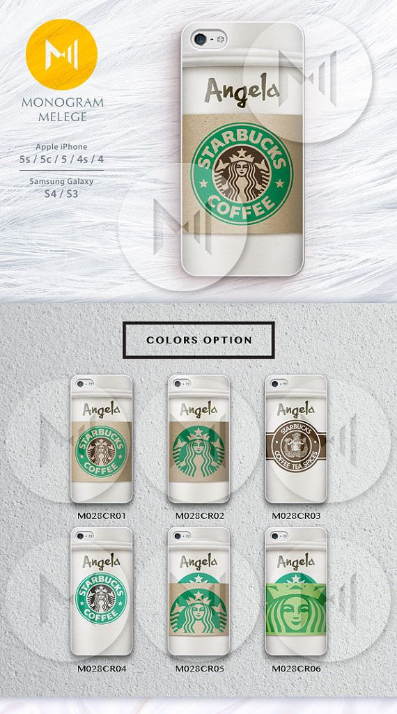 Starbucks Coffee iPhone 5 Case, iPhone 5s Case, iPhone 5c Case Personalized Monogram Hard Plastic or Rubber iPhone 5s 5c 5 Cases on Etsy, $8.99