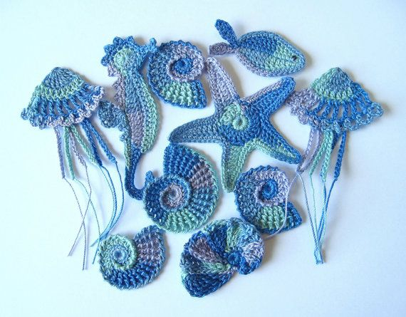 Crochet Sea Motifs, Set of 10, MADE TO ORDER