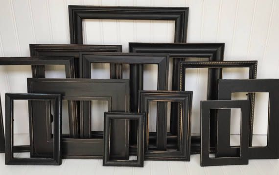 Custom gallery wall picture frame set in a variety of sizes and painted black. Great in your living room as a gallery wall. All sets are given a distressed finish. The frames in pictures above have been SOLD, you will receive a similar set. A picture of your specific frame set will be messaged to you BEFORE your set is shipped. ~ Pick the number of frames you need from the drop down  ~Choose to have them with glass and backings or open (no glass or backings). ***Specifics***  ~Size~ Your set…