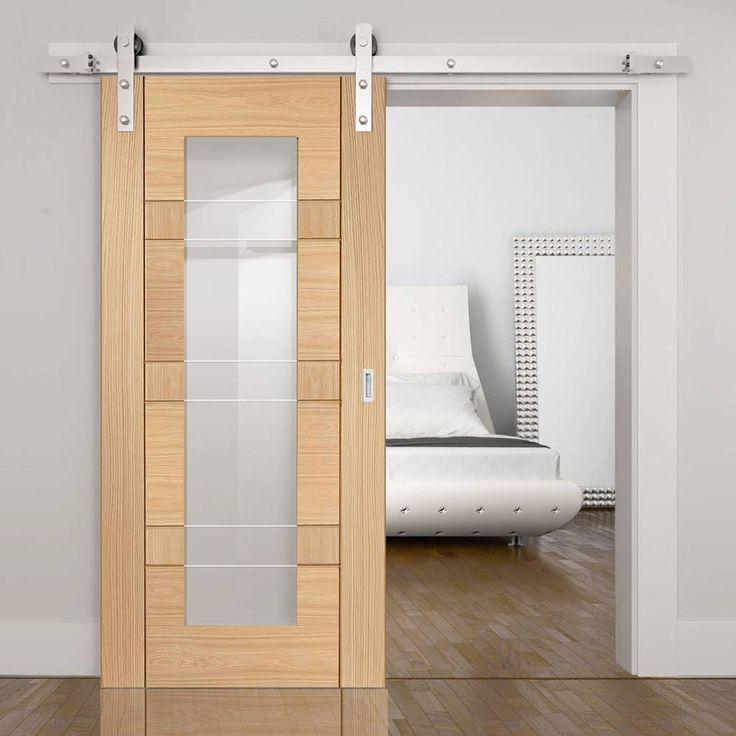 Thruslide Traditional Latina Oak Sliding Door - Clear Etched Safety Glass - Lifestyle Image.    #barnstyledoor #slidingdoor