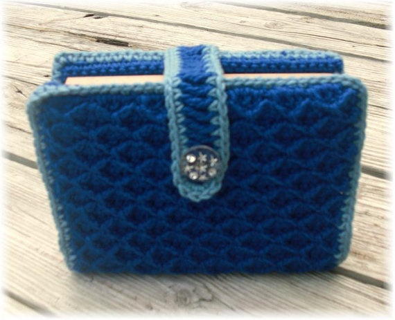 Diy Adjustable Book Cover : Bible book cover tote adjustable blue crochet by