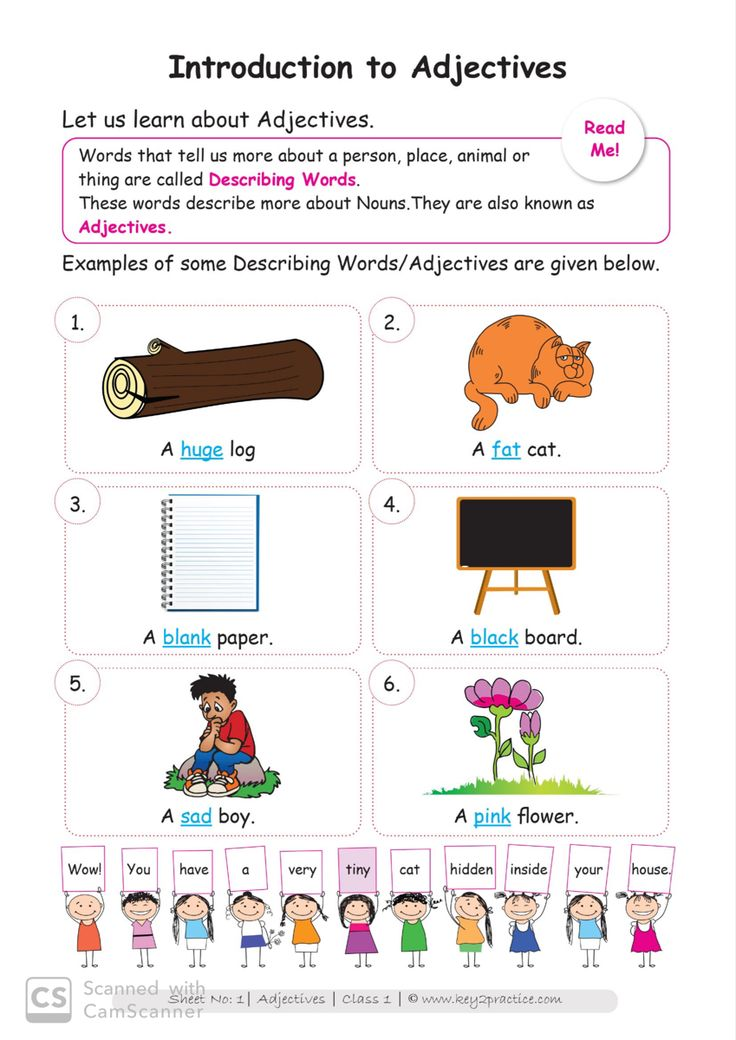 Maths Worksheets Adjectives for Grade 1 key2practice