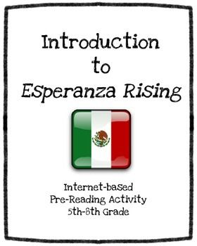 Revised and Updated for 2015!! It is a good idea to give students some background information before they read Esperanza Rising. This is an interactive Webquest that takes students on a journey to learn more about the setting and events that take place in this book.Enjoy!