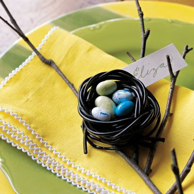 """For Easter - edible nests made from licorice twists. """"To make, twist two or three black-licorice laces, creating a cup. Soften in microwave for 20 seconds. Reshape. Let cool, then nestle candy eggs inside. (from """"delish.com"""" as printed in Good Housekeeping mag)"""