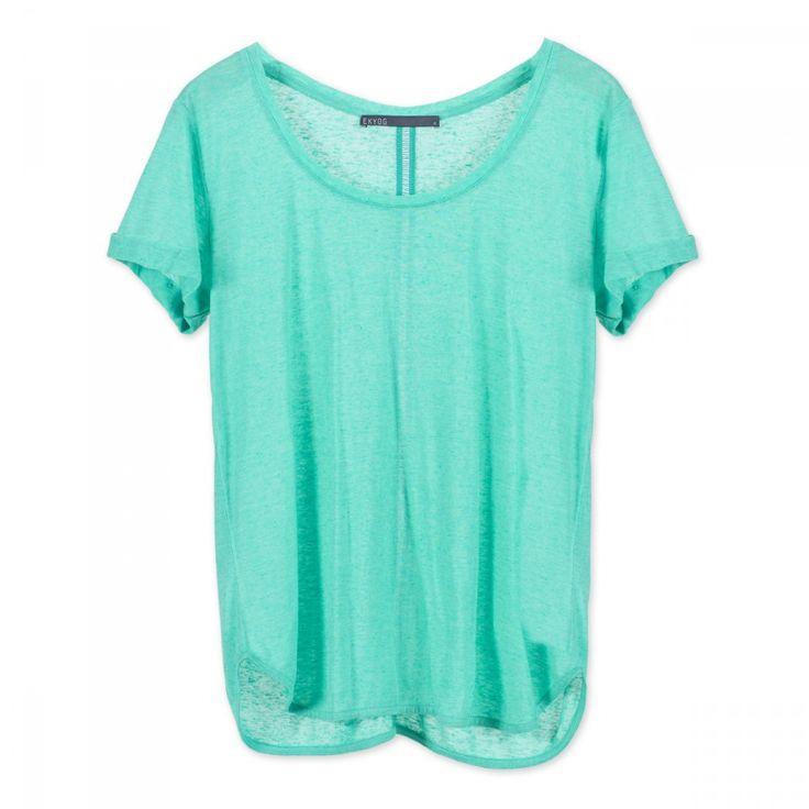 Tee-shirt+en+jersey+flammé+fluide+avec+jour+échelle