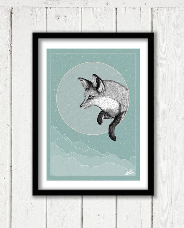 Fox Moon a graphic poster by Scandinavian Carolina Grönholm, Illustration -Nordic Design Collective