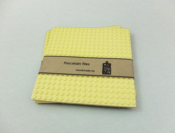 Yellow Porcelain Coaster 5,30 x 5,30 inches - Contemporary Ceramics