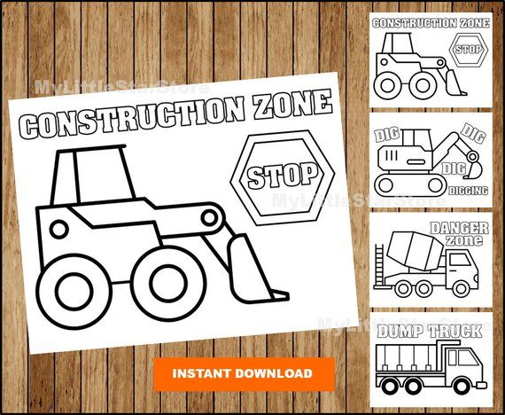 Construction Colouring Pages Construction Party Printable