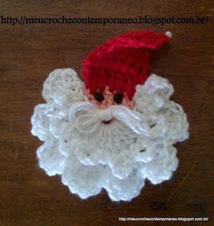 Meu Crochê Contemporâneo: Aplique de Papai Noel