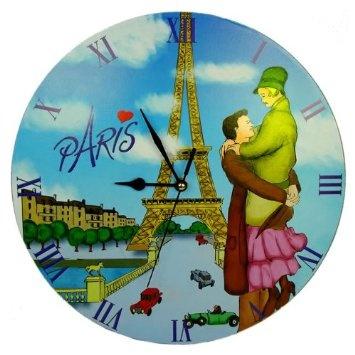 Amazon.com: Lembranças da França - Paris Lovers Relógio de parede - Diâmetro: 11.42in: Casa e Cozinha