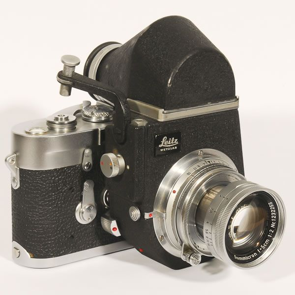 Leica M3, 1954-1966. One of the most sought after of all Leicas. Often thought of as one of the finest cameras ever made. This is a double stroke advance version with a Visoflex III adapter. The Visoflex turned a rangefinder camera into a SLR.