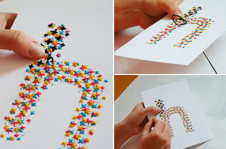 Handmade letters with cross stitch embroidery in several colours designed by Evelin Kasikov.