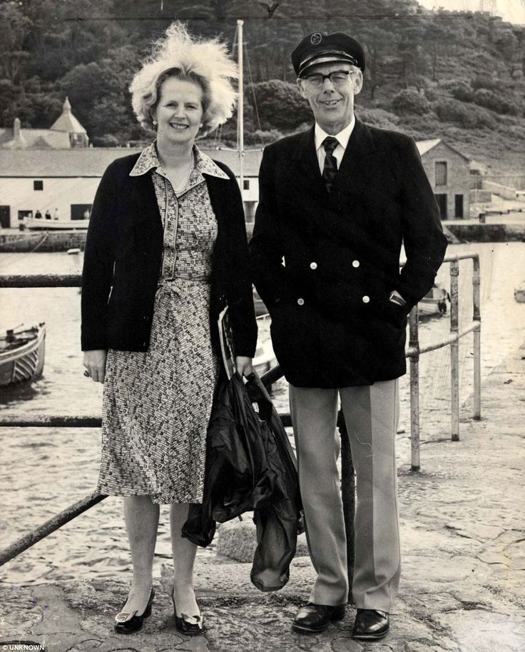 A windswept Margaret holidays in Cornwall with her husband Denis in 1978