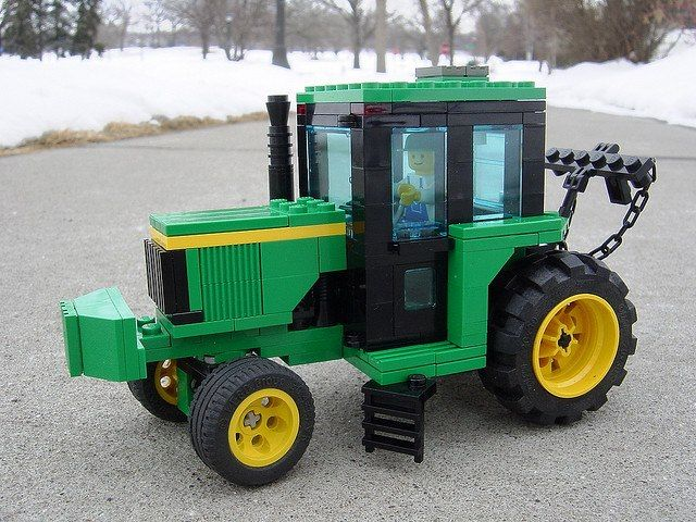 You have got to love John Deere Lego tractors!  Who needs Mars Mission and Space Cops when you can create a Lego farm!