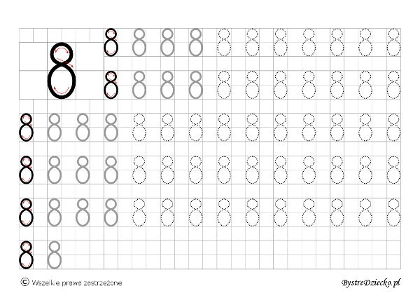 Cyferki dla dzieci - szablon do nauki pisania 8 - matematyka