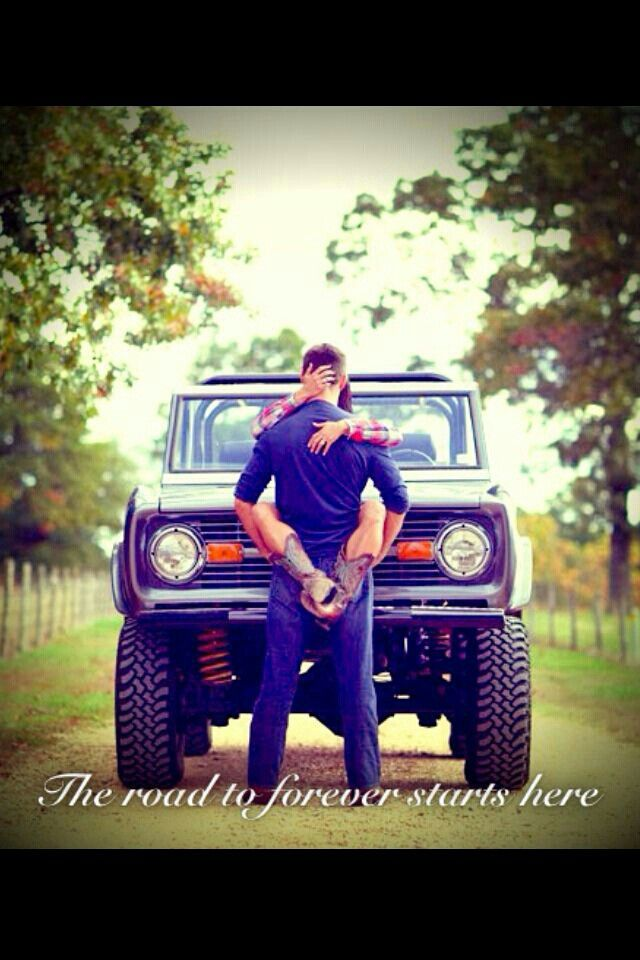 Country love.. cute engagement picture, but with couple posing differently
