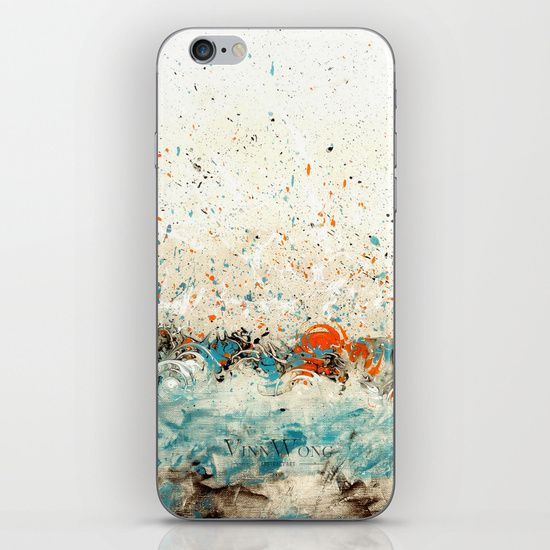 Japanese art inspired blue and orange abstract river iPhone and iPod Skins by Vinn Wong | Full collection vinnwong.com | Visit the shop or Pin it For Later!