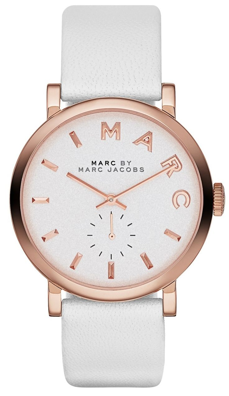 This minimalist white and rose gold Marc Jacobs watch makes accessorizing so easy.