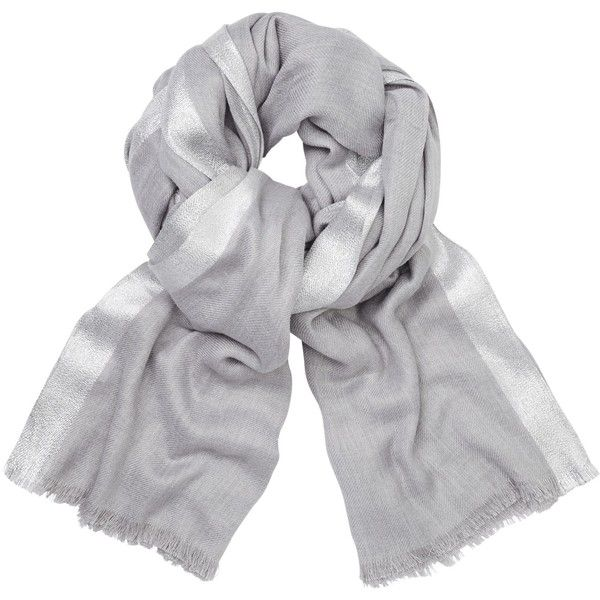 John Lewis Metallic Border Scarf, Light Grey/Silver (235 GTQ) ❤ liked on Polyvore featuring accessories, scarves, silver shawl, john lewis, silver scarves, fringe shawl and faux-fur scarves