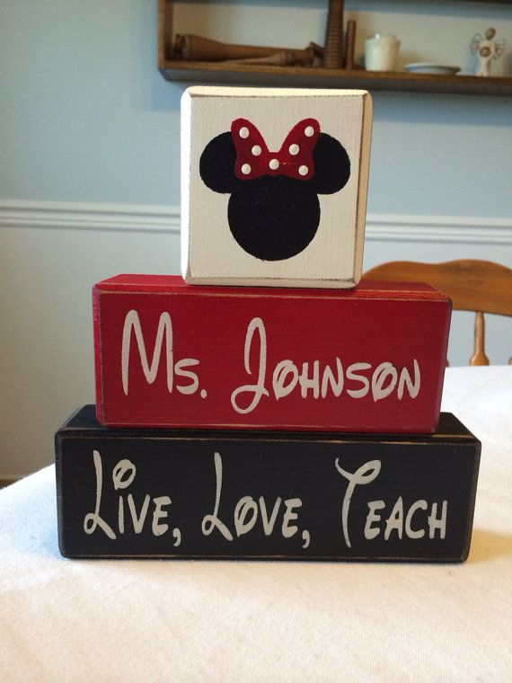 Minnie Mouse or Mickey personalized First or Last name TEACHER Wood Sign Shelf…