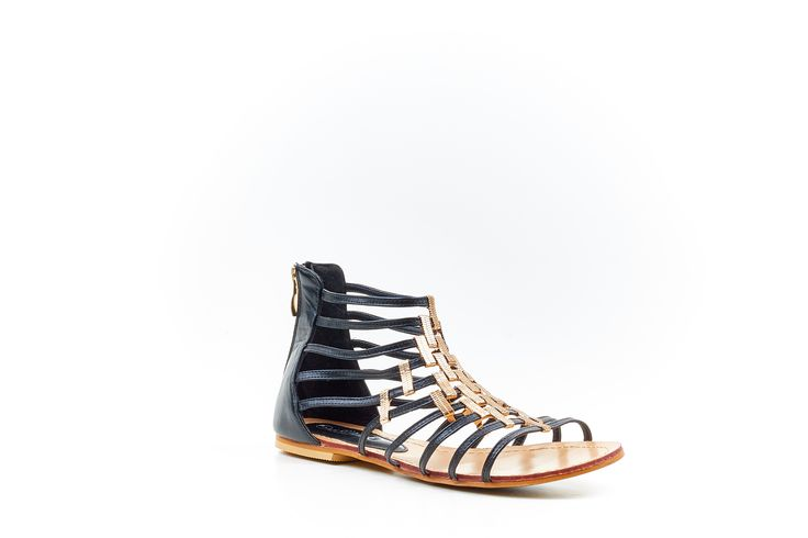 """Kim"" Black Gladiator Sandal by Miss Black Footwear."