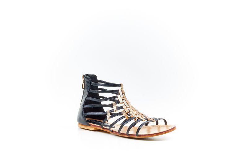 """Kim"" Black Gladiator Sandal by Miss Black Footwear."