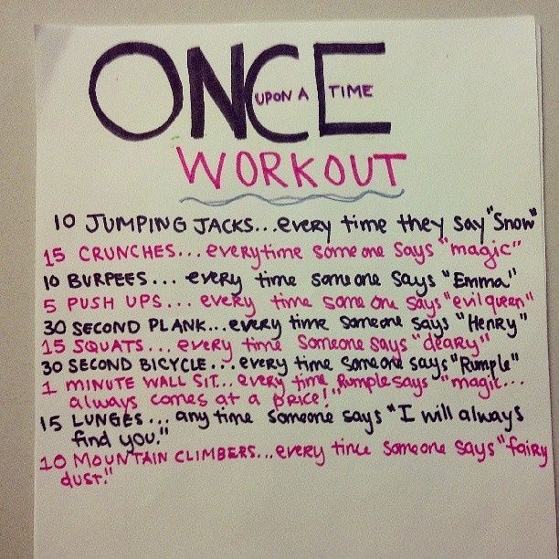 "The ""Once Upon a Time"" Workout Netflix TV Workouts, TV Workout Games"