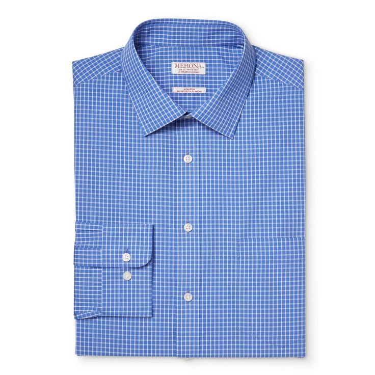 Men's Big & Tall Button Down Dress Shirt Blue Check 2XB Tall - Merona