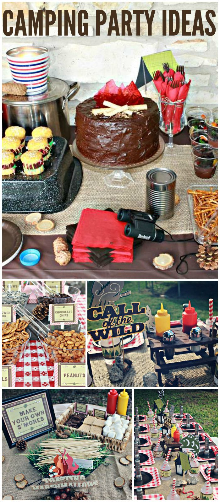 What a cool camping party! It has a s'mores bar and trail mix bar! See more party ideas at CatchMyParty.com!