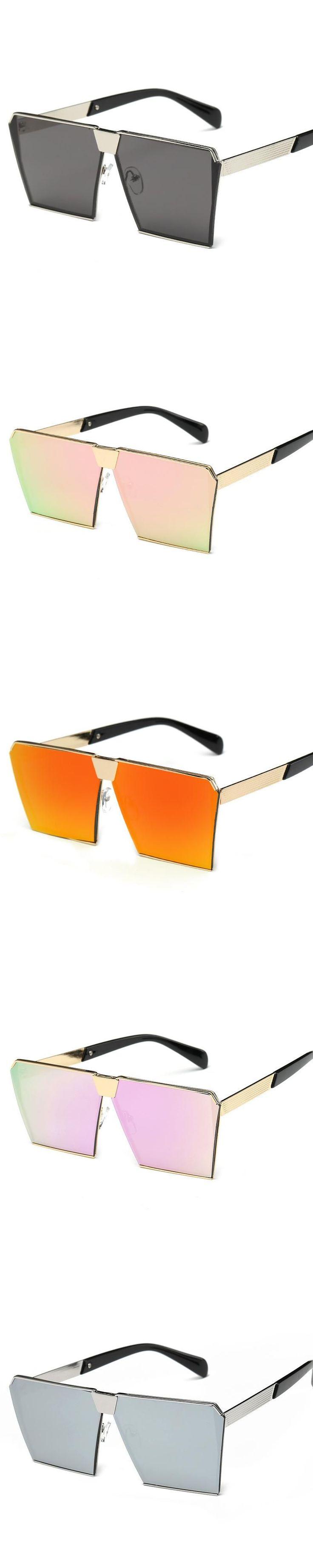 wholesale  Brand Designer Sunglasses Women Men Hip Hop Sun Glasses Big Size Oversize Lady Fashion Hipster Flat Top Eyeglasses