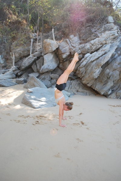 """Yoga Poses Around the World: """"Handstand in Huatulco!"""""""