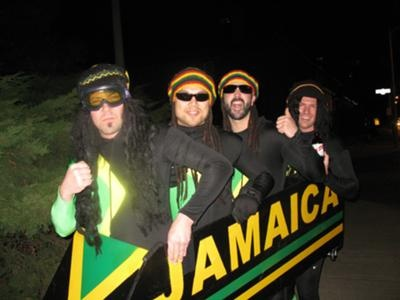 Jamaican bobsled team from Cool Runnings
