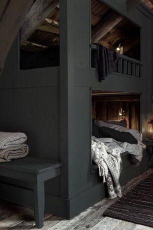 Rustic Guest Bedroom with Surya Rugs Tobias Grey 51 x 71 Throw, Eclipse Grey 70-Inch Throw Blanket, Custom bunk bed