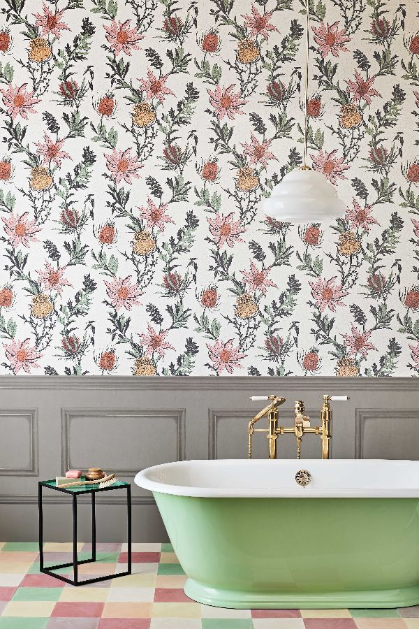 Thistle By Cole Son Alabaster Pink Orange Wallpaper 115