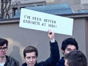 A roundup of funny and clever signs protesting President Donald Trump and his administration.: I've Seen Better Cabinets at Ikea