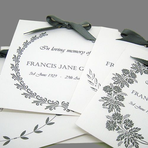 Elegant Personalised Funeral Cards - FORGET-ME-NOT seeds/Memorial/Remembrance